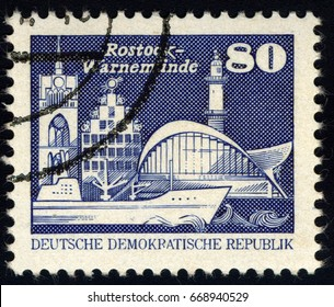 SINGAPORE – JUNE 30, 2017: A stamp printed in Germany shows Warnemunde, Rostock, circa 1981.