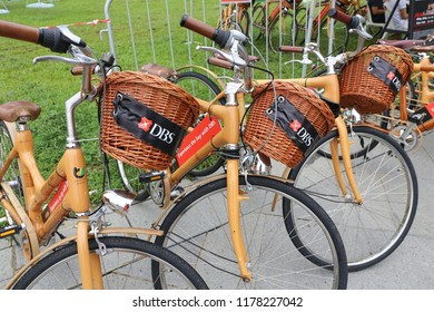 SINGAPORE, JUNE 4, 2016: DBS sponsored bike at Singapore street