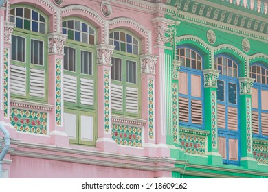 Singapore - June 8, 2019: Koon Seng Road in the Joo Chiat area of Singapore is famous for a row of beautifully coloured Peranakan shophouses and colonial architecture dating from the 1920s.