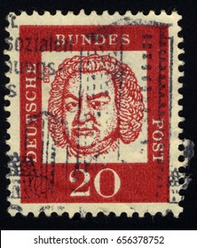 SINGAPORE – JUNE 9, 2017: A stamp printed in Germany shows Johann Sebastian Bach, circa 1961.