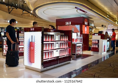 SINGAPORE - JUNE 9, 2018: SK-II Pitera Premium Skin Care store in Changi Airport Terminal 2. SK-II is a Japanese prestige beauty brand launched in 1980.