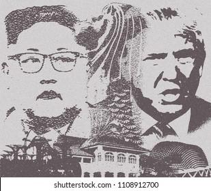 Singapore, June 9,2018: Trump and Kim Summit Singapore on June 12. Illustration.