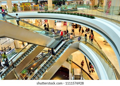 Singapore - June 9th 2018: Perspective view of the interior atrium of Raffles City Shopping Centre, a major retail and entertainment mall  in the downtown area