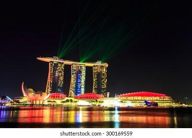 Singapore laser show skyline cityscape at night   , Singapore -17January 2015
