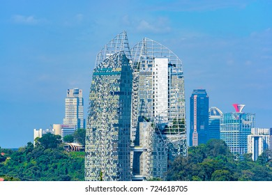 SINGAPORE, MALAYSIA - Apr 04, 2017: Landscape of the Singapore financial district and business building on waterfront.