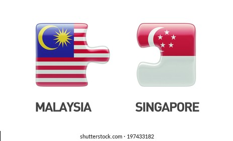 Singapore Malaysia High Resolution Puzzle Concept