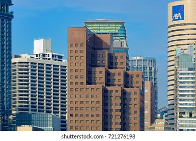 SINGAPORE, MALAYSIA - Jan 06, 2017: Famous iconic landscape of the Singapore financial district and business building on waterfront.