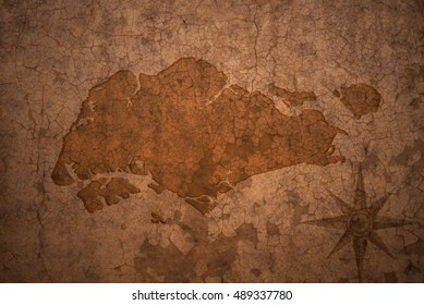 singapore map on a old vintage crack paper background