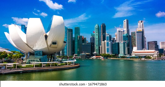 SINGAPORE - MAR 1, 2020: Singapore downtown waterfront with ArtScience Museum seen from Helix Bridge