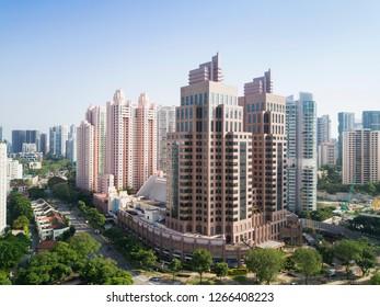 SINGAPORE - MAR 11 2018: Central part of Singapore skyline