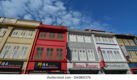 Singapore - Mar 12, 2016. Old buildings located in Chinatown, Singapore. Singapore Chinatown is a world famous bargain shopping destination.
