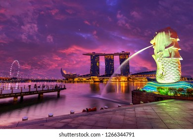 Singapore - Mar 18, 2015 The Merlion fountain and The Marina Bay Sands. Merlion is a famous Attraction of Singapore.