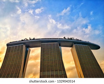 Singapore - March 04, 2019 unique architecture of Marina Bay Sand Hotel