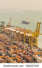 SINGAPORE - MARCH 05, 2014: Ship leaving container terminal