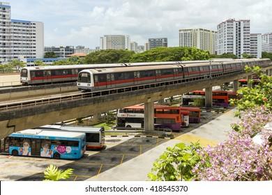 SINGAPORE - March 06, 2016: Transportation at Eunos bus interchange.