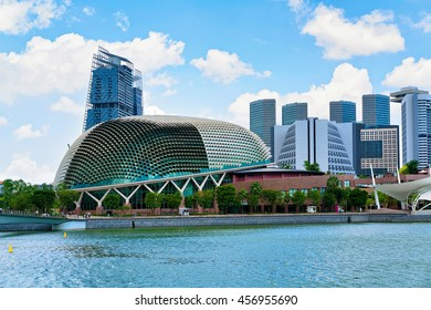Singapore, Singapore - March 1, 2016: Esplanade - Theaters on the Bay. Skyline in Downtown Core at Marina Bay Financial Center, in Singapore.
