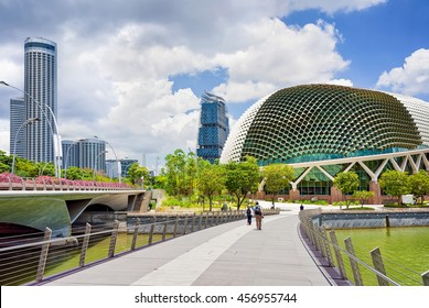 Singapore, Singapore - March 1, 2016: Esplanade - Theaters on the Bay. Skyline in Downtown Core at Marina Bay Financial Center in Singapore.
