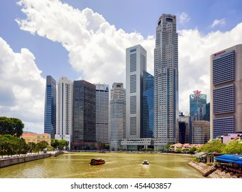 Singapore, Singapore - March 1, 2016: Skyscrapers of Downtown Core along Quay District embankment of Singapore. UOB Plaza and One Raffles Place buildings on the background.