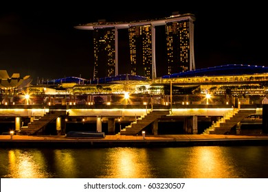 Singapore - March 1, 2017: Marina Bay Sands, the world's most expensive stand alone casino property in Singapore.