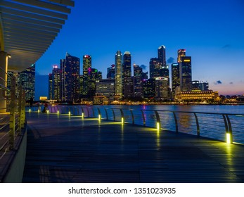 Singapore, Singapore - MARCH 1, 2019: View at Singapore City Skyline, which is the iconic landmarks of Singapore