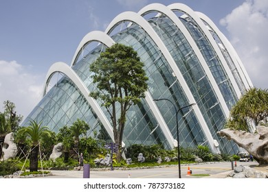 SINGAPORE, MARCH 13: Flower Dome on March 13, 2017 in Singapore. Flower Dome is the world's largest glass greenhouse.