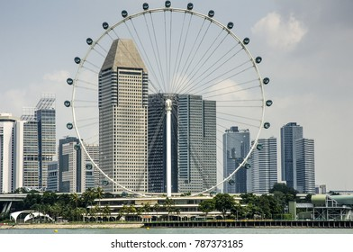 SINGAPORE, MARCH 13: Singapore Flyer on March 13, 2017 in Singapore. From 2008-2014, Singapore Flyer was the world's tallest ferris wheel.
