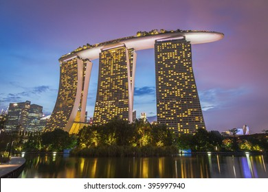 Singapore - March 13,2016 : Night view of Marina bay sands, at marina bay singapore travel landmark