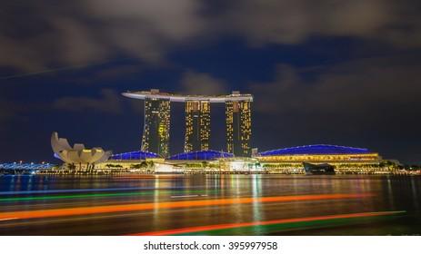 Singapore - March 14,2016 : Night view of Marina bay sands, Art Museum, at marina bay singapore travel landmark