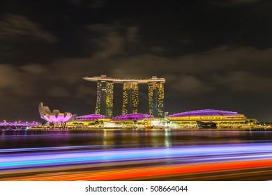 Singapore - March 14,2016 : Wonderful light show of Marina bay sands, at marina bay singapore travel landmark