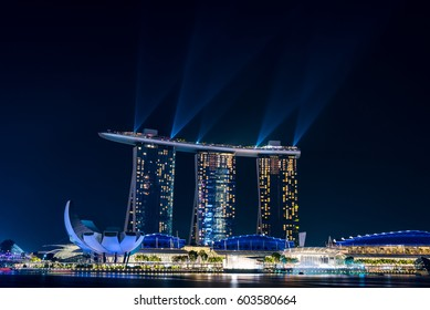 SINGAPORE - March 15, 2017: The Wonder Full Light and Sound Show at Marina Bay Sands Hotel. Marina Bay Sands is an integrated resort fronting Marina Bay in Singapore.