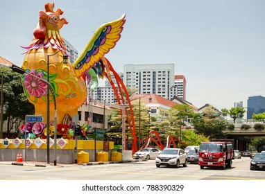 SINGAPORE, MARCH 15: a giant rooster on March 15, 2017 in Chinatown, Singapore. Chinatown is a subzone located within the Outram district in the Central Area of Singapore.