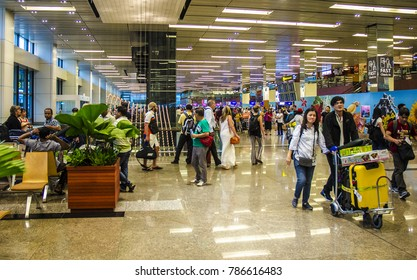 SINGAPORE - MARCH 15: the interior of Singapore Changi Airport on March 15, 217 in Singapore. In 2017, Changi Airport was voted the world's best for the 5th year in a row.