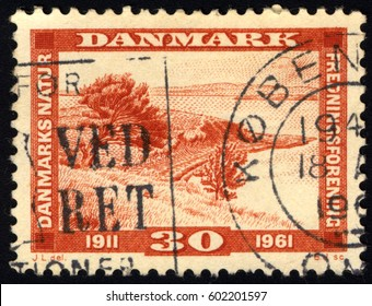 SINGAPORE – MARCH 17, 2017: A stamp printed in Denmark shows Landscape, circa 1961