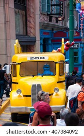 SINGAPORE - March 19, 2016 : Sesame street school bus at Universal studio in Singapore