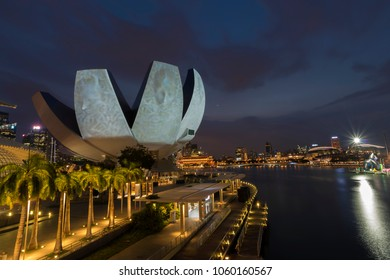 SINGAPORE - March 19, 2018: Light show at Singapore Art Science museum