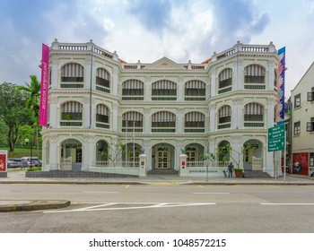 SINGAPORE - MARCH 2, 2018: Peranakan Museum in Singapore specialising in Peranakan culture. Museum opened on 2008, in permanent galleries showcasing, The historic Old Tao Nan School building.