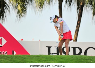 SINGAPORE - MARCH 2: Korean player Hee Kyung Seo teeing off at hole 2 during HSBC Women's Champions at Sentosa Golf Club Serapong Course March 2, 2014 in Singapore