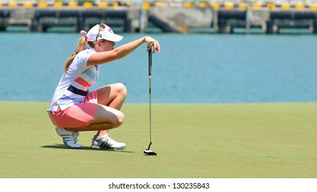 SINGAPORE - MARCH 2: Paula Creamer of USA checking out the course during the third round of the HSBC Women's Champions at the Sentosa Golf Club on March 2, 2013 in Singapore.