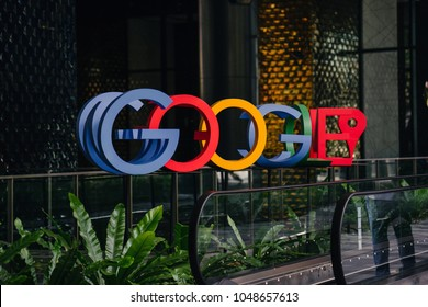 Singapore, March 2018: A photograph of the Google logo in the lobby of Google's new campus and office in Singapore, which is regional HQ.