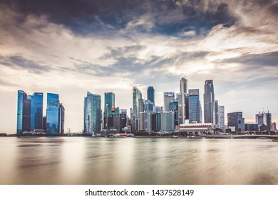 SINGAPORE, SINGAPORE - MARCH 2019: Downtown core skyscrapers by Marina Bay in Singapore