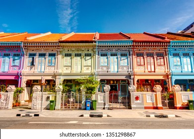 Singapore - March 2019 : Historical buildings in Joo Chiat Road, HDR image