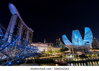 SINGAPORE - March 22, 2018: light show at Singapore Art Science museum