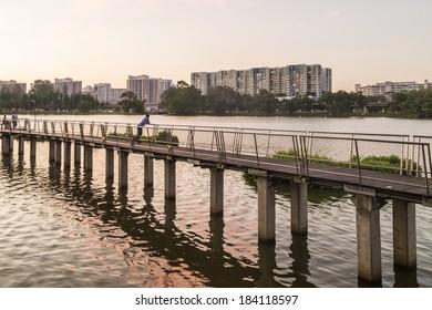 SINGAPORE - MARCH 23, 2014: Jurong Lake Park walkway