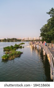 SINGAPORE - MARCH 23, 2014: People admiring the view along the Jurong Lake Park walkway
