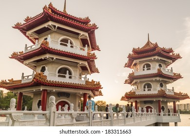 SINGAPORE - MARCH 23, 2014: Twin pagodas at the Singapore Chinese Gardens