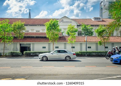 Singapore - March 23, 2018: View of the Perennial company headquarter located in Neo-Classical style building CHIJMES. The photo was taken from North Bridge Road