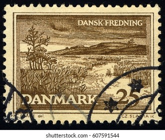 SINGAPORE – MARCH 24, 2017: A stamp printed in Denmark shows landscape, circa 1964