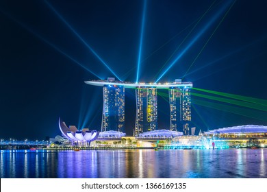 SINGAPORE - MARCH 24, 2019: Spectra - A Light & Water Show at Marina Bay Sands and the event Plaza is a free daily 15 minute show.