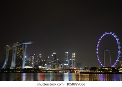 Singapore - March 25, 2018 : Singapore business district skyline and all building landmarks at Marina Bay, Singapore, taken from East Coast Way.