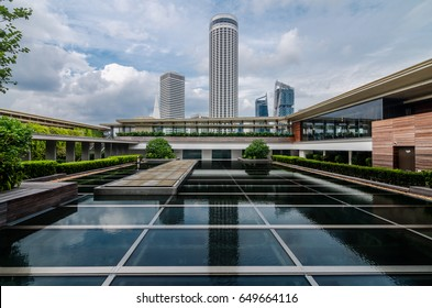 SINGAPORE - March 26, 2016: Swissôtel The Stamford as seen from Singapore National Gallery's Rooftop Garden. The hotel was designed by architect I.M. Pei, at a height of 226 meters.